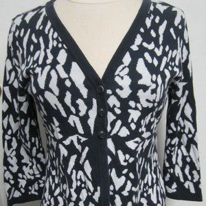 Christopher & Banks S Navy white cardigan sweater